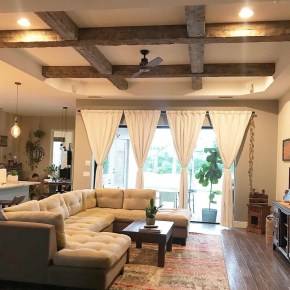 Brilliant Living Room Wood Ceiling Design Ideas That You Should Try19