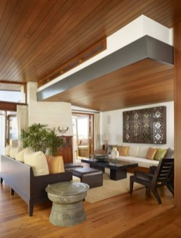 Brilliant Living Room Wood Ceiling Design Ideas That You Should Try30
