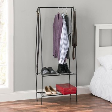 Awesome Diy Small Bedroom Design Ideas With Close Clothing Rack 02