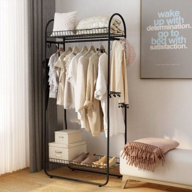 Awesome Diy Small Bedroom Design Ideas With Close Clothing Rack 19
