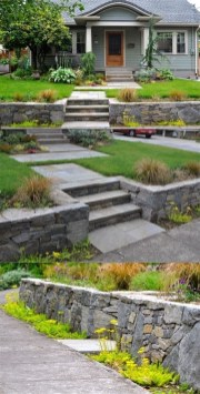Lovely Retaining Wall Ideas For Sloped Front Yard 34