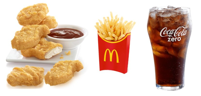 nuggets, fries, coke zero