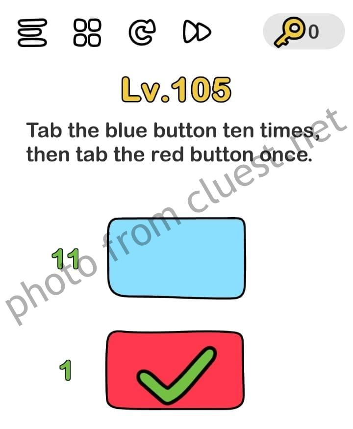 Brain Out Level 105 : brain, level, Brain, Level, Button, Times,, Answers, Solutions, CLUEST