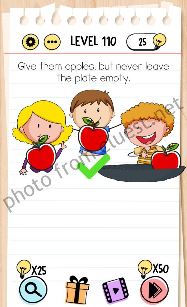 Brain Test Level 110 : brain, level, Brain, Level, Apples,, Never, Leave, Plate, Empty, Answers, CLUEST