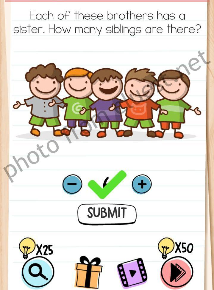 Brain Test Level 105 : brain, level, Brain, Level, These, Brothers, Sister., Siblings, There, Answers, CLUEST