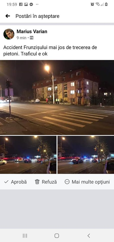 """(Foto) Accidente Cluj. Marius: """"Două mașini implicate și una colaterala de pe trotuar. Pasagera din Golf, o doamna mai în vârstă, era puțin amețita de la airbag..."""" 2"""