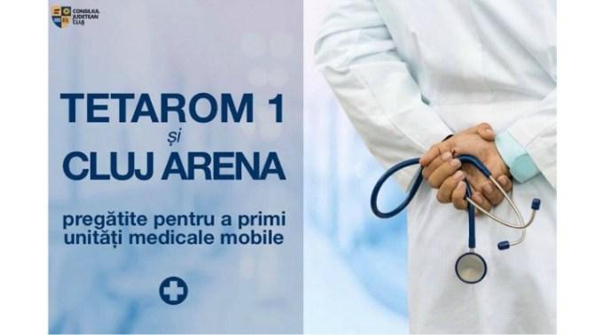 Cluj Arena transformat în loc pentru spital mobil pentru cei infectați cu coronavirus, dacă este cazul. La fel și noile hale din Parcurile Industriale Tetarom 1 1
