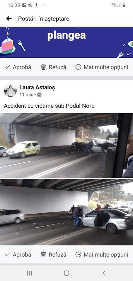 (Foto) Accident Cluj. Ciocnire violentă la Podul N, persoane rănite 7
