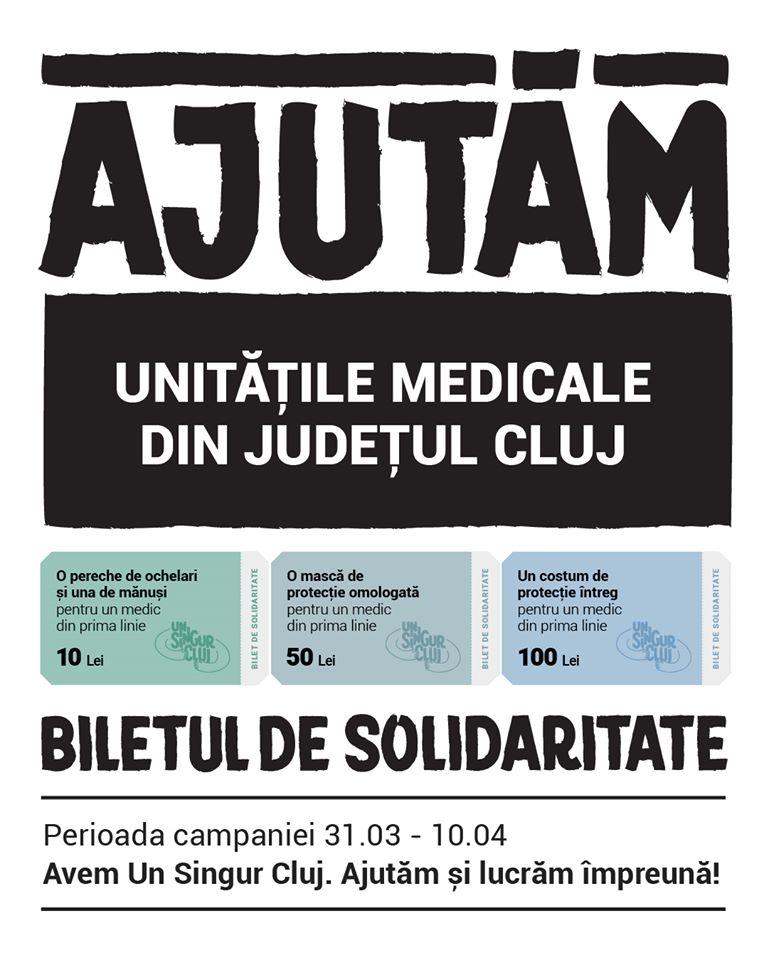 """Ajută medicii din Cluj cu biletul de solidaritate. """"Avem Un Singur Cluj și vrem să-l facem bine împreună!"""" 1"""