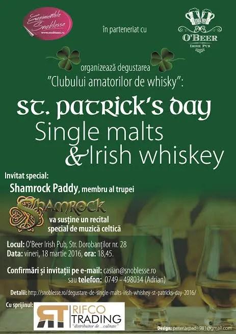 Degustare Single malt si Irish whiskey de Sf. Patrick la Cluj