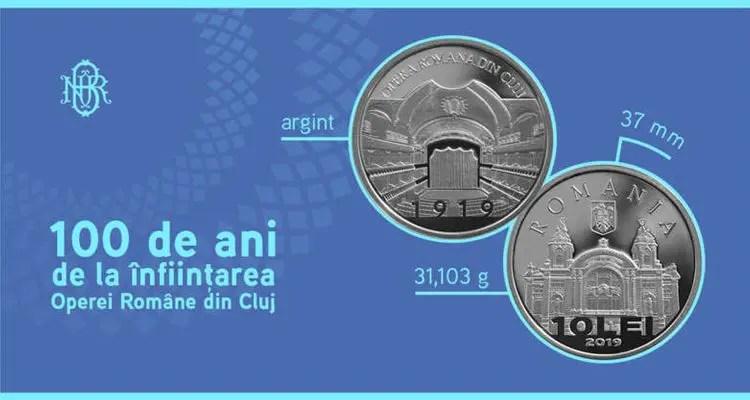"""BNR va lansa o monedă de argint cu tema """"100 de ani de la înfiinţarea Operei Române din Cluj"""""""
