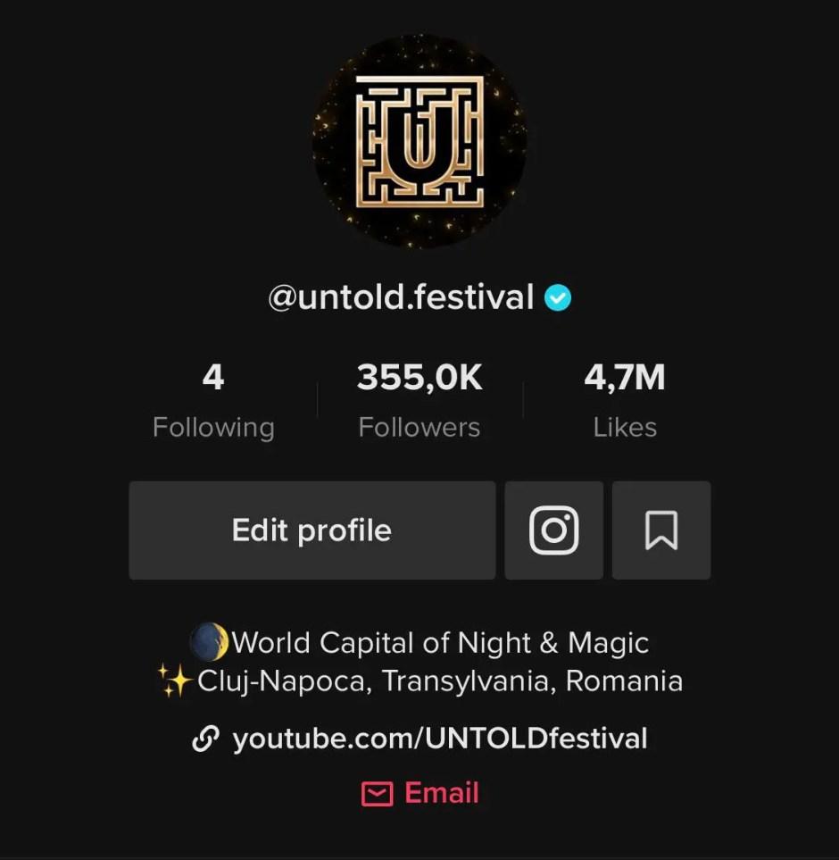 UNTOLD - cel mai urmărit brand românesc pe TikTok în întreaga lume