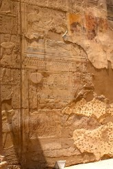 Roman Christian painting over ancient Egyptian Temple wall