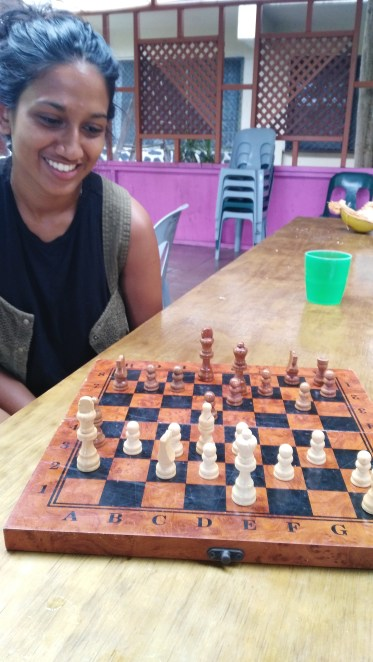 Priya learning she can't ever beat me at chess