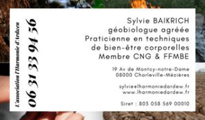 CARTE DE VISITE Sylvie BAIKRICH l harmonie d ardwen géobiologie ardennes recto