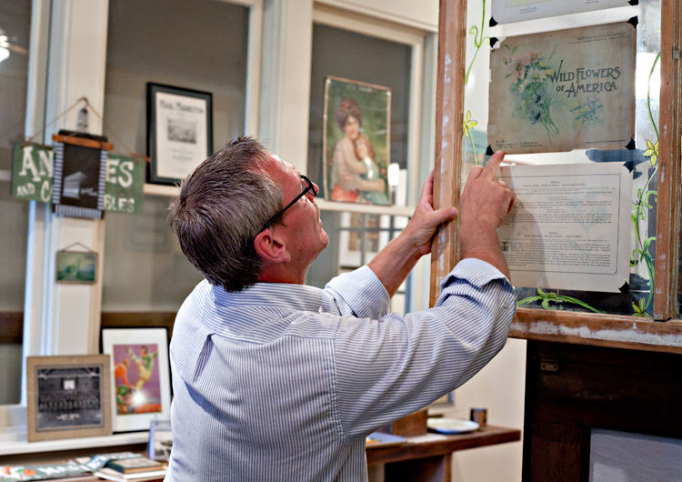 Chuck pointing out his beautiful collection of botanical prints.