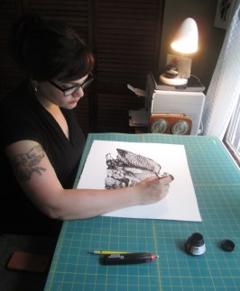 Leigh at work in her home studio.