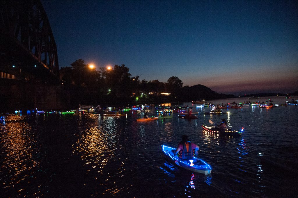 150 paddlers participated in this year's Glow Paddle.