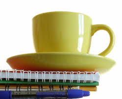 Tea cup on paperwork