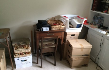 Sewing area, to be professionally decluttered and organized!