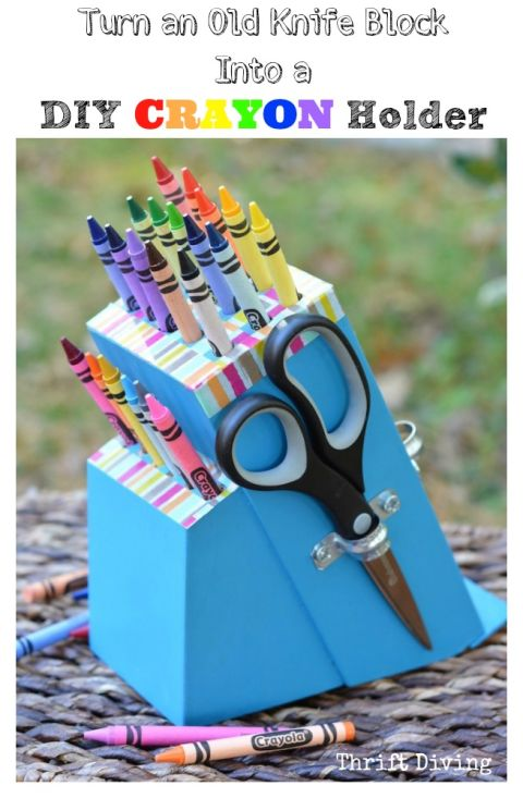 With the help of a drill (and some bold paint), this knife block gets a second life as a kid-friendly art station. Get the tutorial at Thrift Diving »
