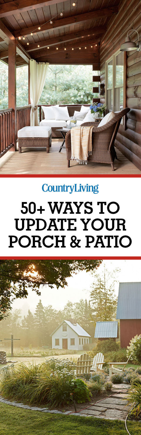 Don't forget to save these ways to decorate your porch and patio. For more outdoor decorating inspiration, follow @countryliving on Pinterest.