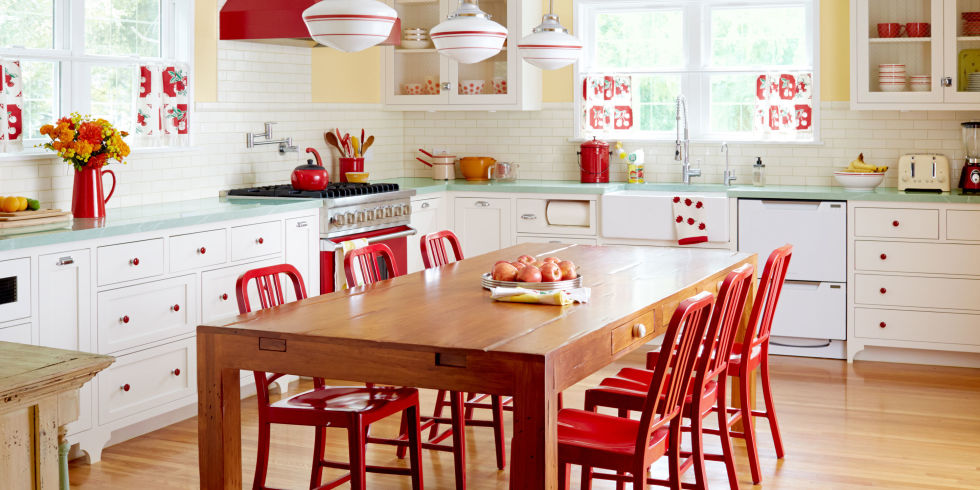 yellow and red retro kitchen.