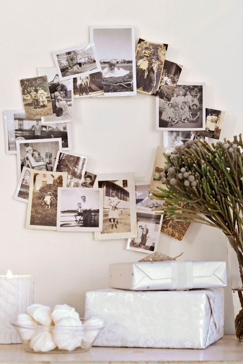 To make your own photo arrangement, hot-glue a selection of black-and-white snapshots (use copies if you're worried about ruining the originals) to a wire wreath form.