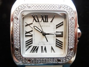 Montre Cartier Santos 100 Femme Blanc et Diamants