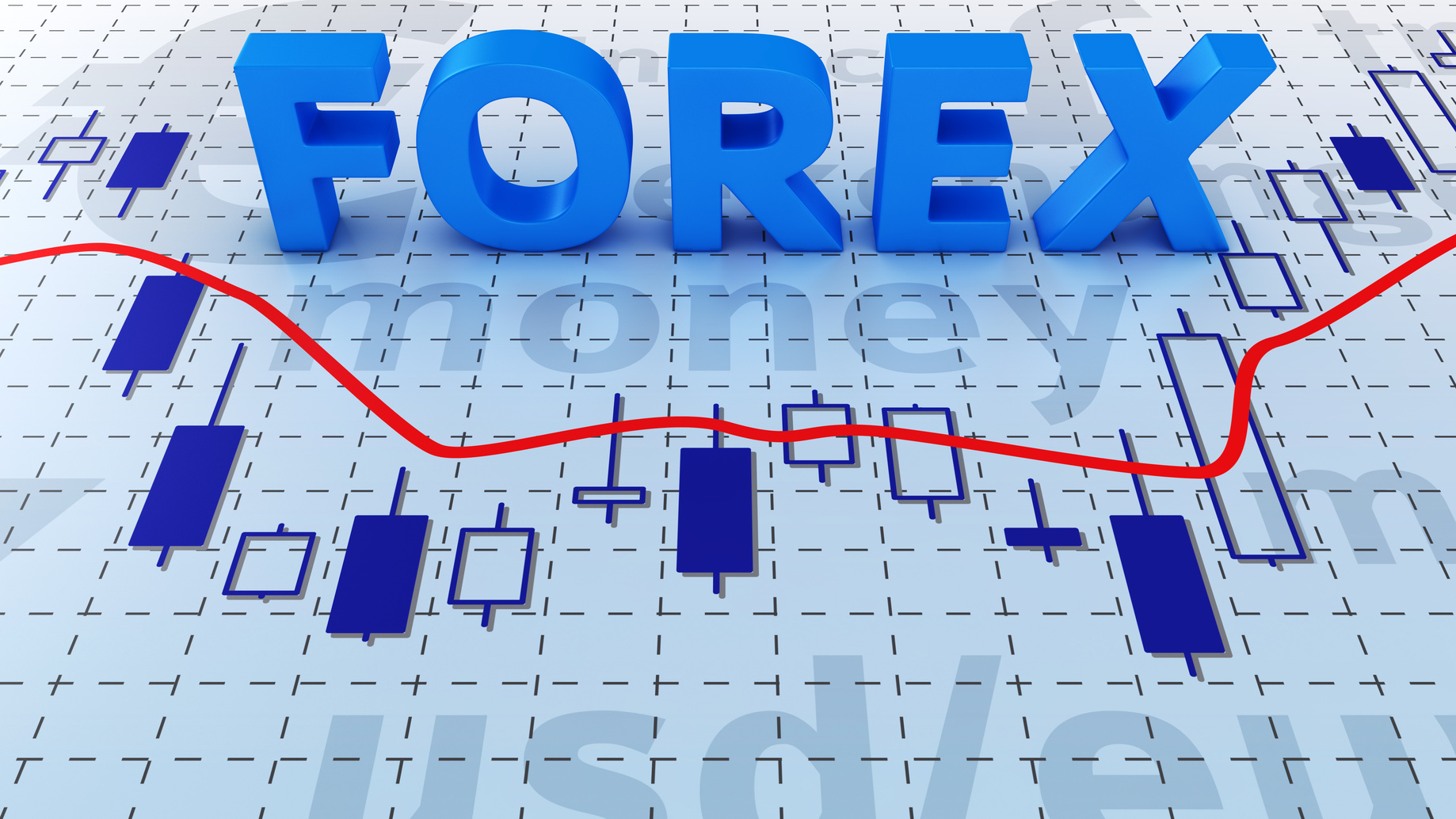 Blue word FOREX on trading chart