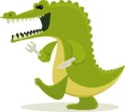 Vaisselle, serviettes, bavoirs et sets de table pour enfants ayant une faim de crocodile sur CmaChambre.fr