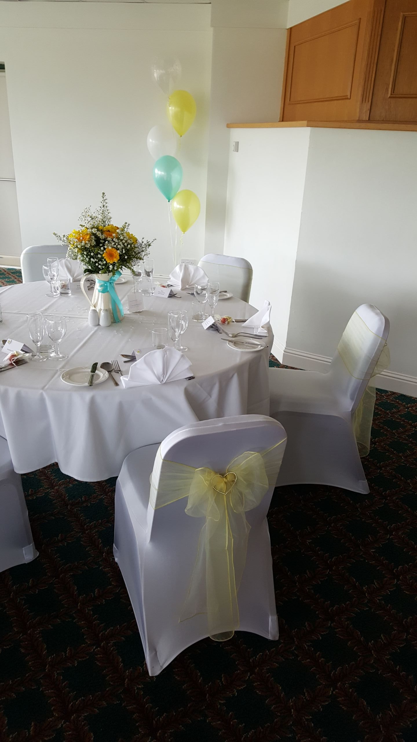 Pale Yellow and Blue Themed Decorations