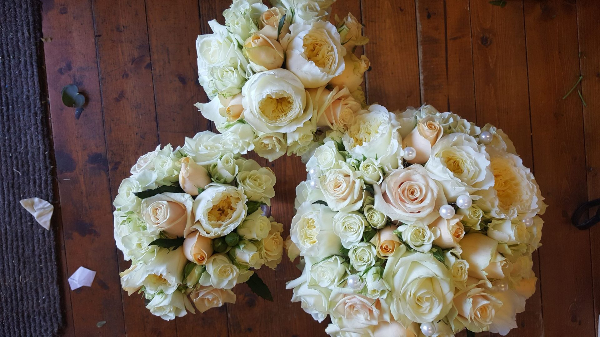 White & Cream Rose Bouquets