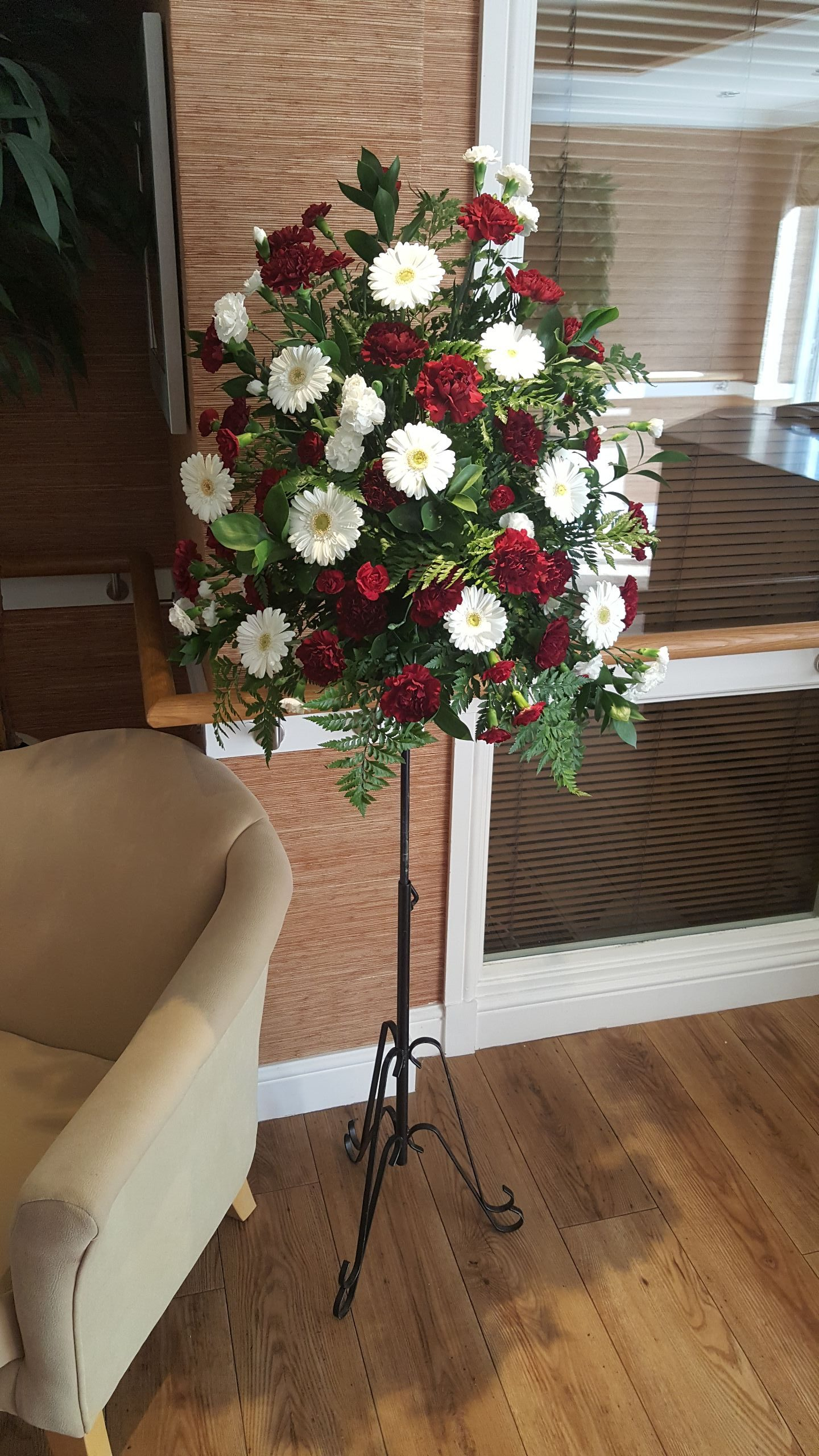 White and Red flower Stands
