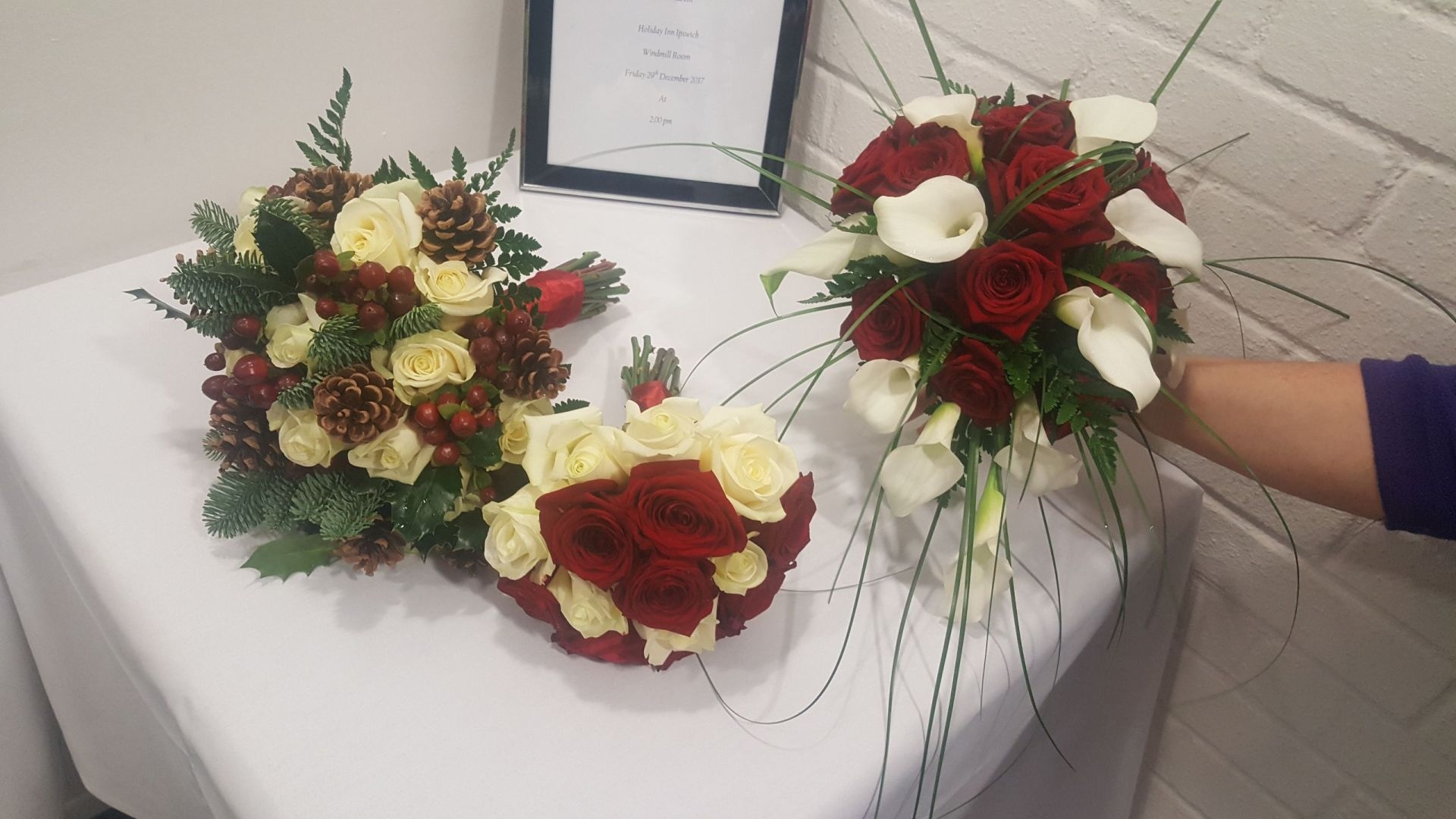 Red and white autumn themed flowers