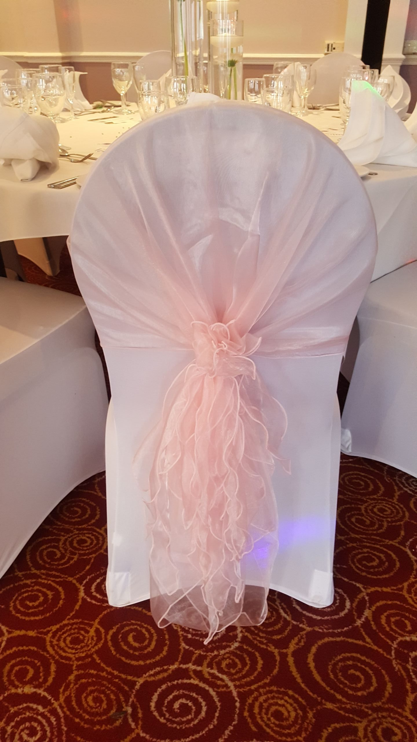 Pink Hood sash and White Lycra Chair covers
