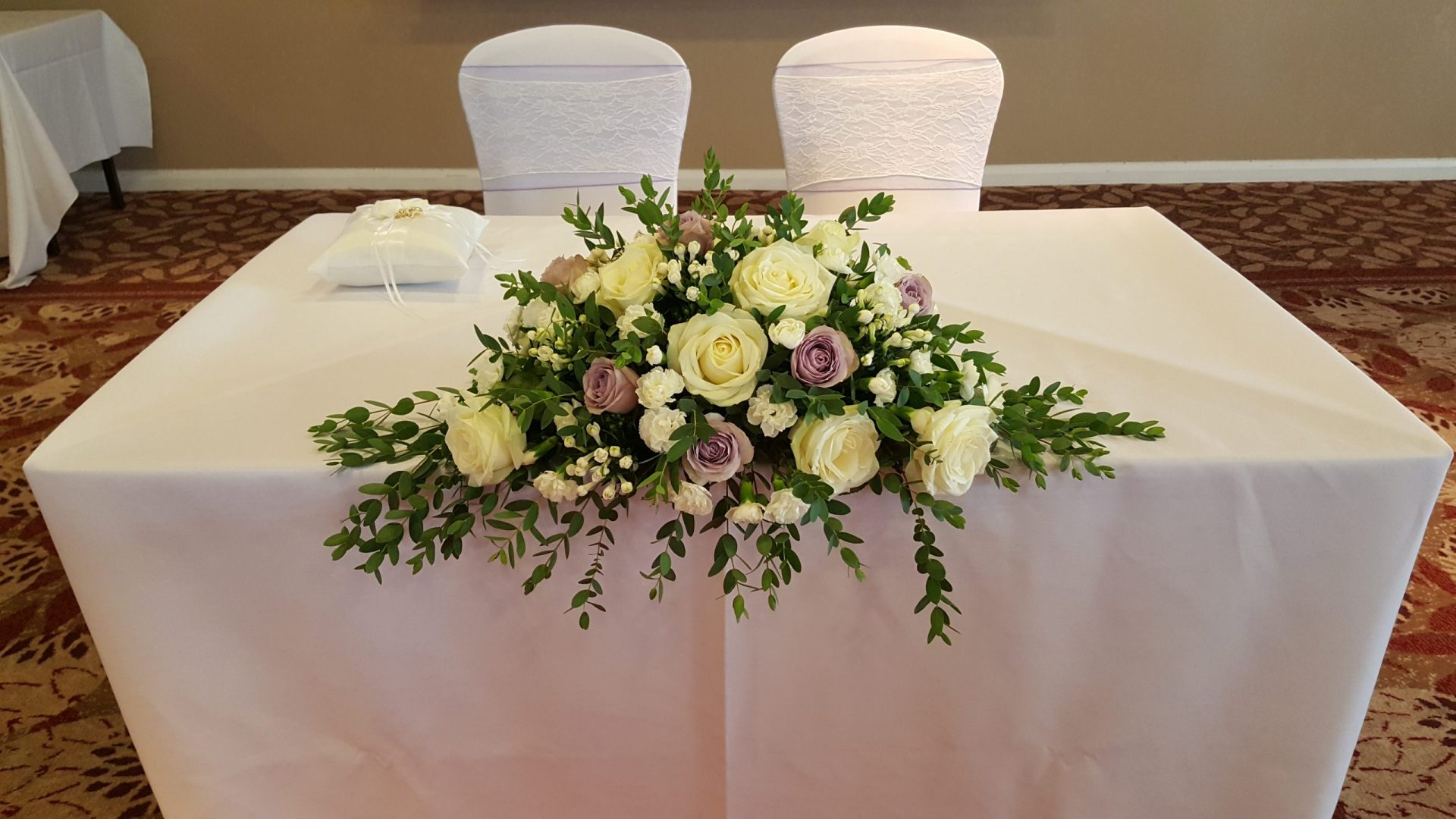Long and Low with lilac and lace sashes