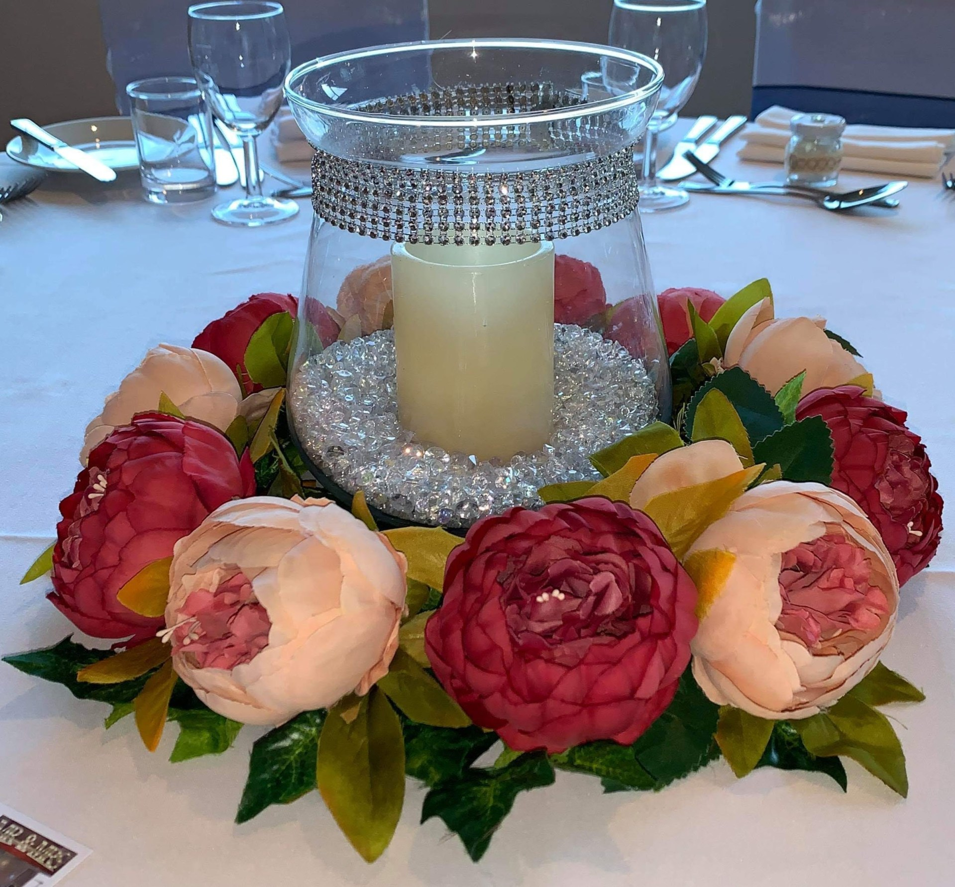 Candle in Glass with Pink Flowers and Bling