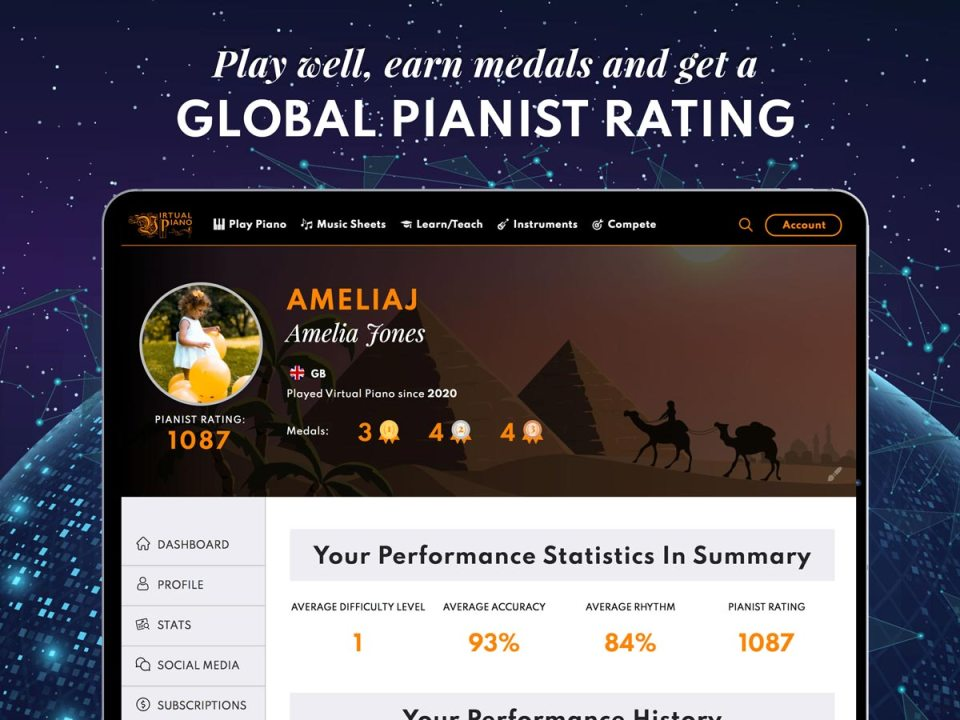Global Pianist Rating, Virtual Piano, Tablet