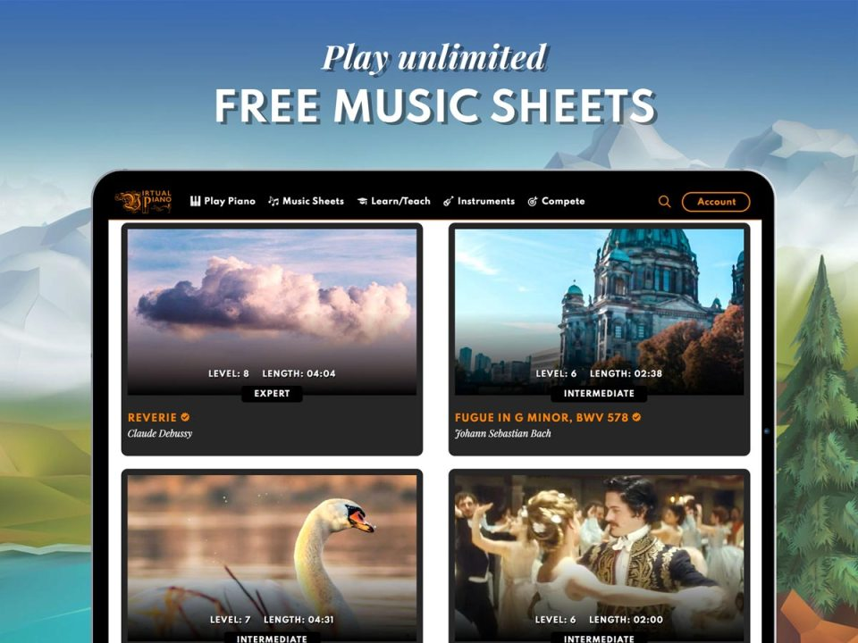 Play unlimited free music sheets, Virtual Piano, Tablet