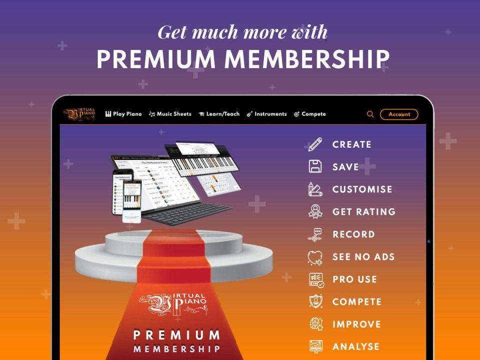 Premium Membership, Virtual Piano, Tablet