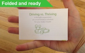 Driving vs. Thriving chart folded and ready.