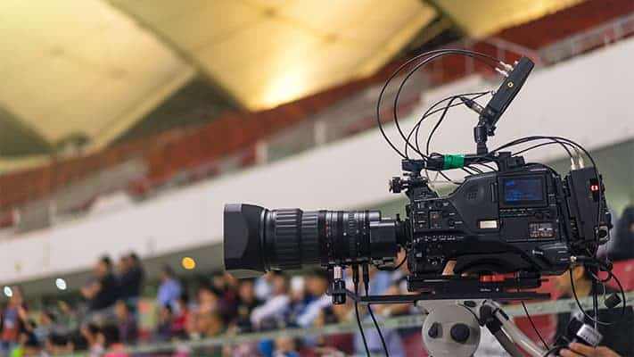 camera inside a sanctuary recording a video podcast