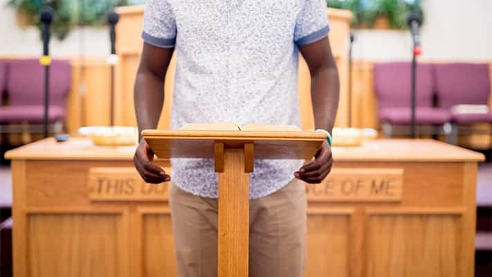 preacher needs to where a mic during service
