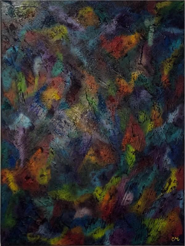 acrylic painting of an abstract rainbow texture