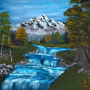 acrylic painting of a blue sky and river with mountains and trees