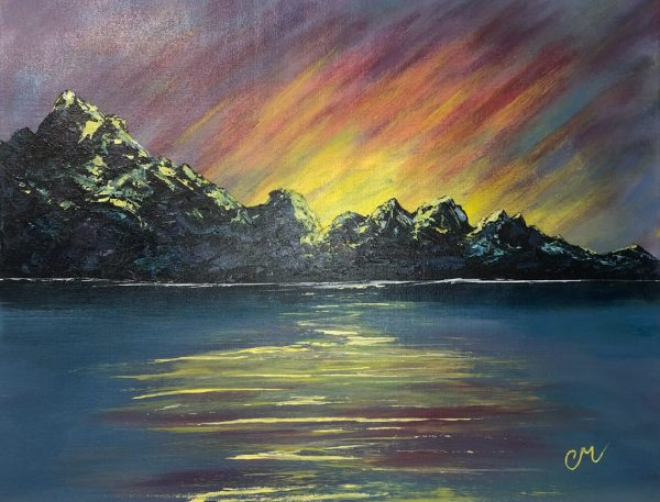 acrylic painting of mountains with yellow and pink streaky sunset over water
