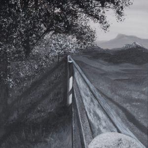 acrylic painting of post/fence line with a tree and distant mountains