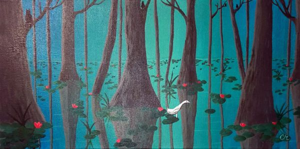 acrylic painting of blue green water with trees reflecting down and lilly pads