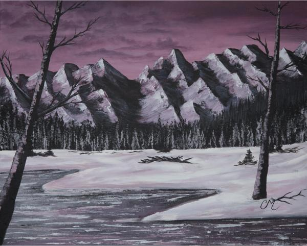 acrylic painting of purple mountains and river with snow